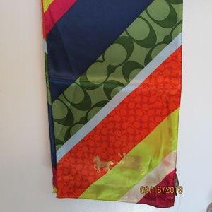 NWT Coach Legacy Stripe Oblong Silk Scarf